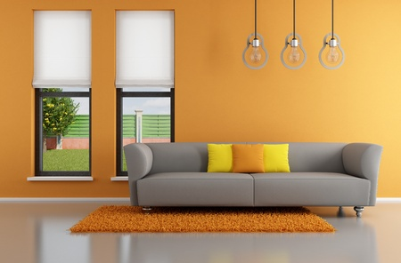 Minimalist orange  living room with gray sofa - rendering- the image on background is a my rendering composition Stock Photo - 19384695