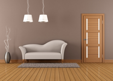 Brown living room with white sofa and closed door - rendering photo