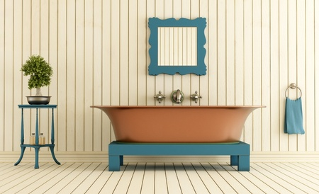 Vintage bathroom with copper bathtub - rendering photo