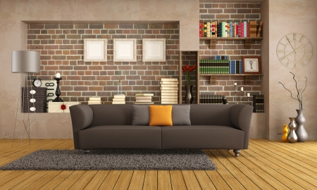 Brown sofa in a vintage living room - rendering photo