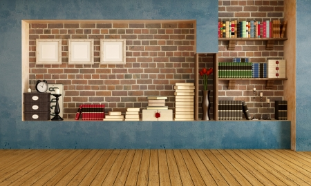 livingrooms: Empty retro  living room with vintage objects - rendering
