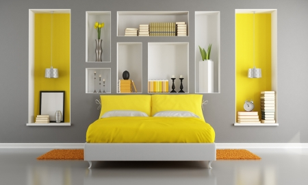 living room minimalist: Yellow and gray modern bedroom with double bed and niche - rendering