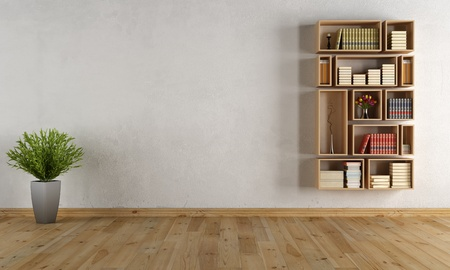 minimalist apartment: Empty interior with wooden wall bookcase - rendering