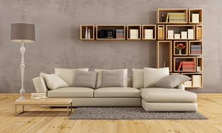 living room minimalist: Living room with elegant sofa and wall bookcase - rendering