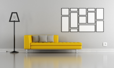 yellow lamp: Minimalist living room with yellow couch and blank frame - rendering Stock Photo