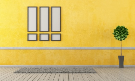 Empty yellow living room with carpet and frame - rendering Stock Photo - 19662130