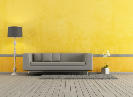 living room minimalist: Gray modern sofa in a yellow living room - rendering