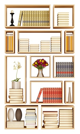 Bookcase: Wall bookcase with books and objects  isoated on white - rendering Stock Photo