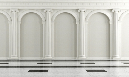 arcos de piedra: Blanco y negro interior clásico con columna iónica - representación Foto de archivo