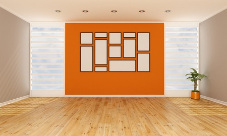 Brown and orange empty living room Stock Photo - 19662101