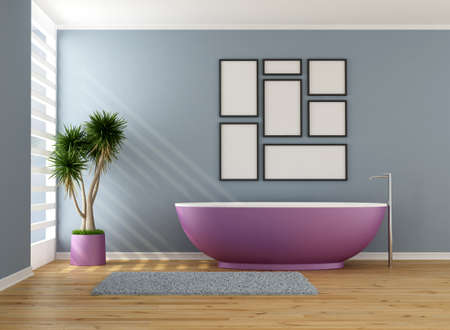 Minimalist blue and purple bathroom - rendering photo
