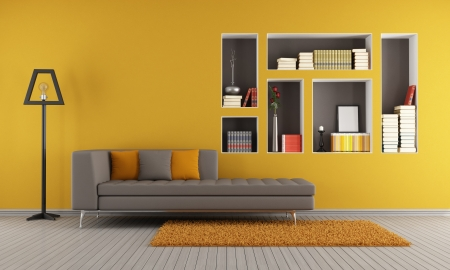 Colorful living room with sofa and niches used as a bookcase - rendering photo