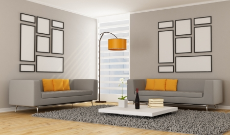 Contemporary Living room with two sofa - rendering photo