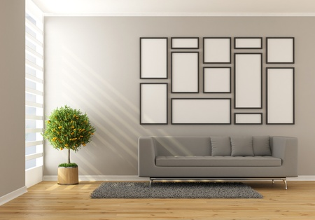Contemporary minimalist living room with couch and blanl frame - rendering Stock Photo - 19992905