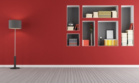 Red empty  living room with  niches used as a bookcase - rendering photo