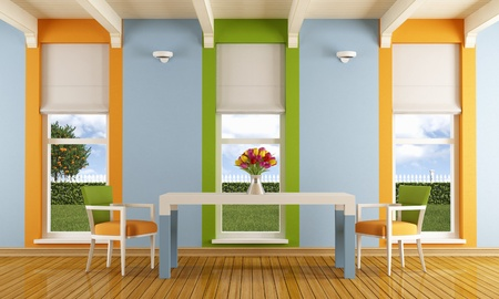 Colorful dining room with three windows - rendering- the image on background is a my rendering composition photo