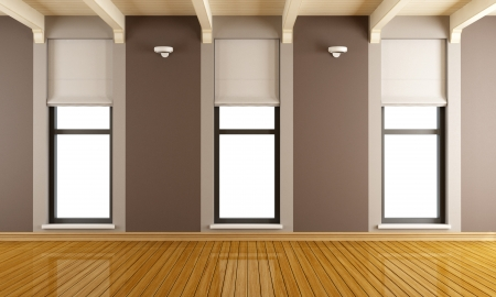 Brown empty room with three vertical windows - rendering