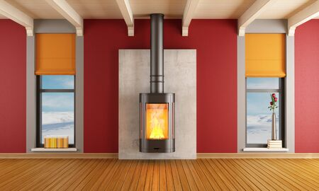 Red living room of a house in the mountains with fireplace - rendering - the image on background is a my photo photo
