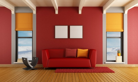 Red living room of a house in the mountains with  sofa and two windows - rendering - the image on background is a my photo photo
