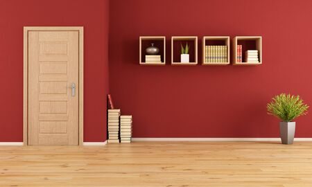 Empty red living room with wooden door and bookcase - rendering photo