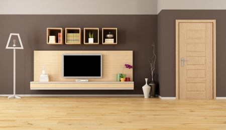 minimalist living room with cabinet shelves and led tv  Stock fotó