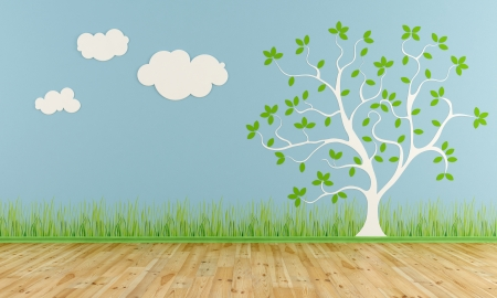 bright decoration color: Empty child room with stylized tree and clouds on the wall - rendering