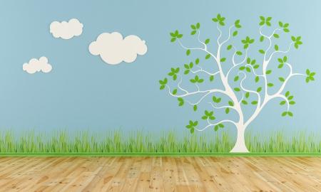 vivero: Sitio de niño vacío con árbol estilizado y las nubes en la pared - representación