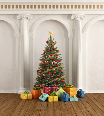christmas bubbles: Classic interior with christmas-tree and colorful gift - rendering
