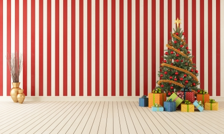 Red and white wooden room with christmas-tree and colorful gift - rendering Stock Photo - 20308570