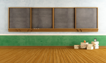 class room: Empty vintage classroom with big  blackboard and stacks of books - rendering