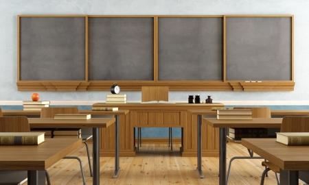 Vintage klaslokaal zonder student met houten meubels en grote blackboard - rendering