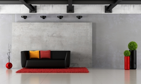 Modern grunge living room with concrete panel and iron beams - rendering photo