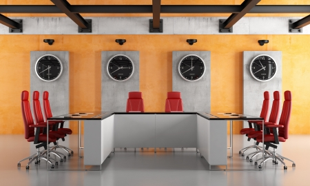 Modern grunge conference room with concrete panel and iron beams - rendering photo