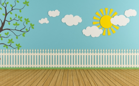 playroom: Sitio de ni�o vac�o con valla de madera, el sol, las nubes y la hierba en la pared azul - representaci�n