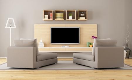 Cntemporary woonkamer met tv - rendering