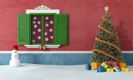 Christmas tree and snowman in front of a house with closed window - rendering Stock Photo - 20669379