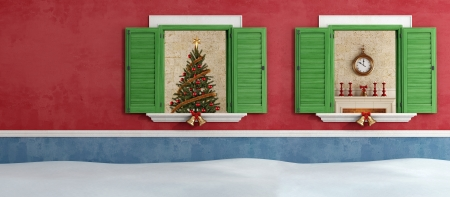 Christmas tree and fireplace through two opened windows - rendering Stock Photo - 20669381