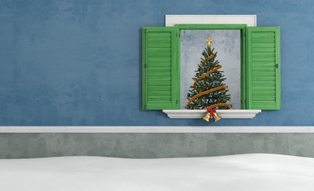 Christmas tree through an open window - rendering Stock Photo - 20669382