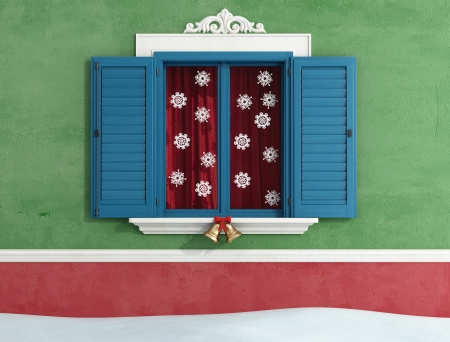 Detail of closed windows with christmas decoration - rendering photo