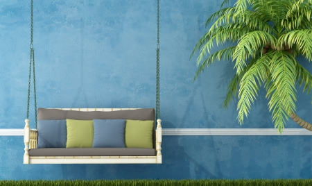 Vintage wooden swing in the garden against blue wall - rendering  Stock Photo