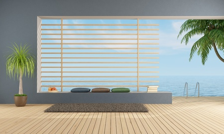 empty  blue room of a holiday villa with sea access - rendering photo