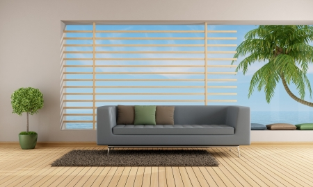 Living room of a holiday villa wit blue sofa and big window - rendering photo