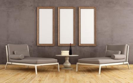 parquet floors: Due moderno divano contro la parete del grunge con cornici vuote - il rendering Archivio Fotografico