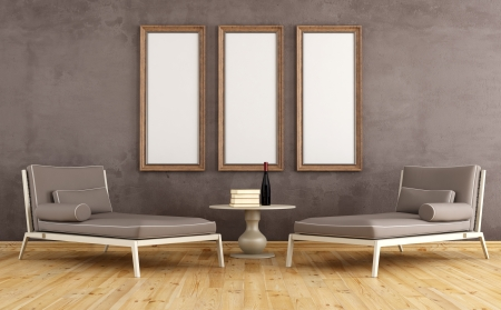 livingroom: Two modern couch against grunge wall with empty frames - rendering Stock Photo