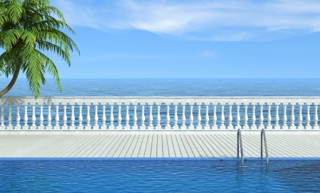 Empty swimming pool near the sea with classic balustrade - rendering photo