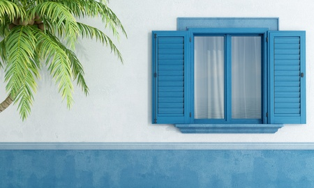 Detail of a Mediterranean house with blue wooden window and palm tree - rendering