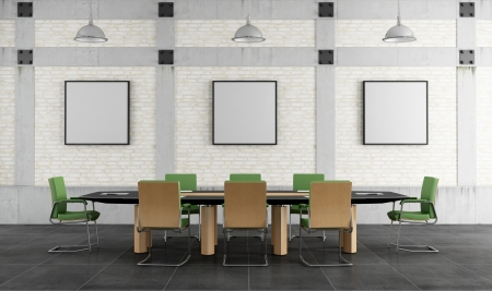 Meeting room in a loft with brick wall and concrete pillars - rendering photo