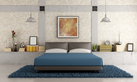 Contemporary bedroom in a loft with brick wall and concrete pillar - rendering - the art picture on wall is a my compsition photo