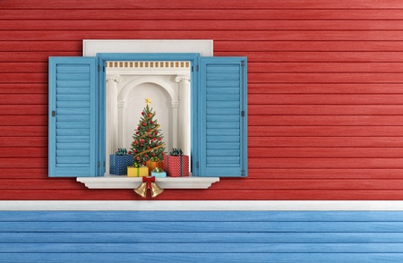 Christmas tree through an open blue  window - rendering Stock Photo - 20669408