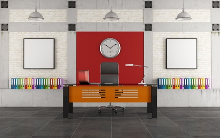 Colorful office with modern desk in a loft -rendering photo